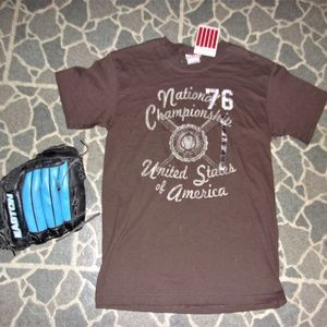 Other - mens new tee shirt brown baseball size small sm